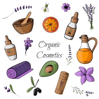 Doodle con prodotti biologici colorati e cosmetici disegnati a mano.