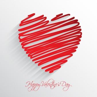 Doodle cuore rosso di sfondo