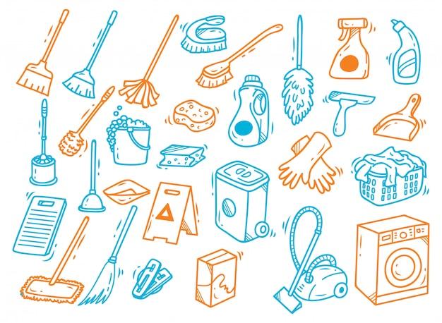 Doodle dei rifornimenti di pulizia isolato su fondo bianco