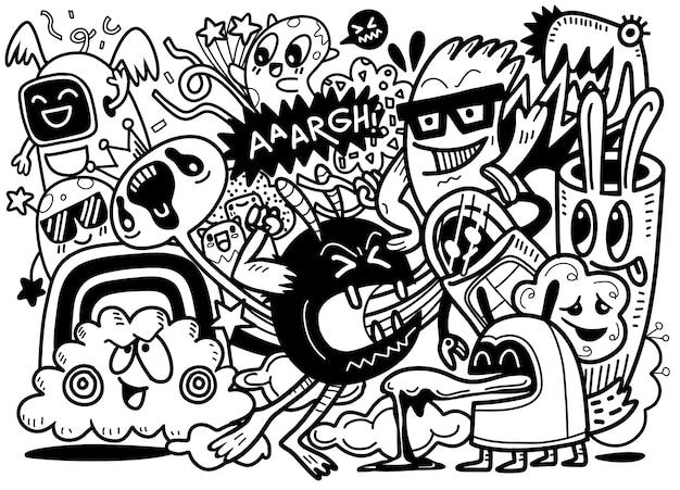 Doodle dell'illustrazione degli alieni e scarabocchio del fumetto del mostro