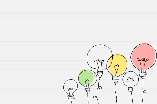 Doodle della lampadina che assorbe una carta