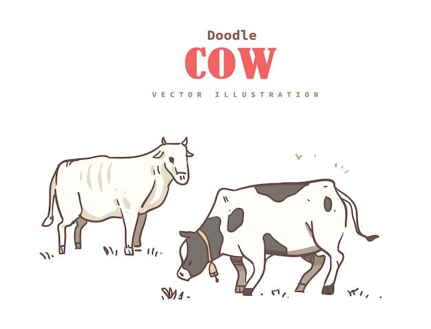 Doodle della mucca di stile del fumetto. mucca