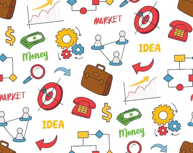 Doodle di affari su sfondo bianco