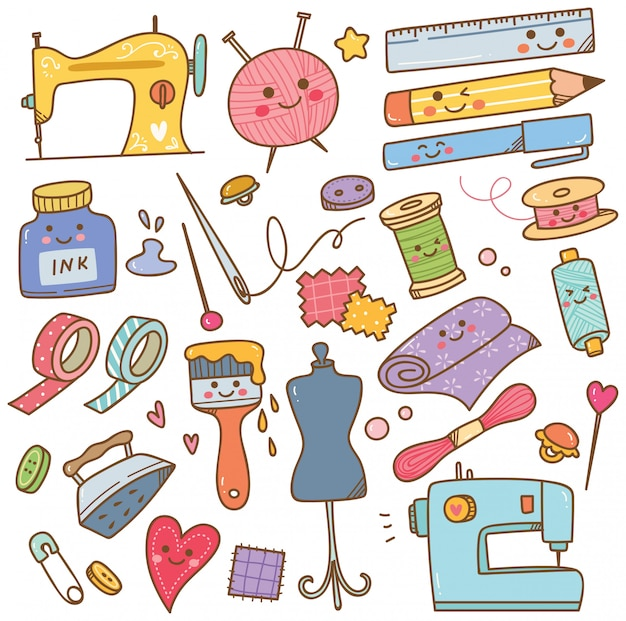 Doodle di attrezzi artistici e artigianali, set di strumenti fai da te