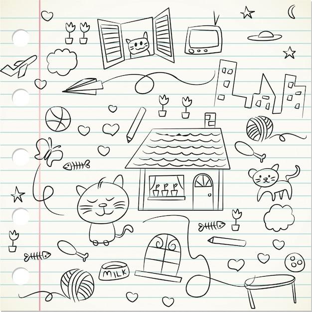 Doodle di bambino su una carta