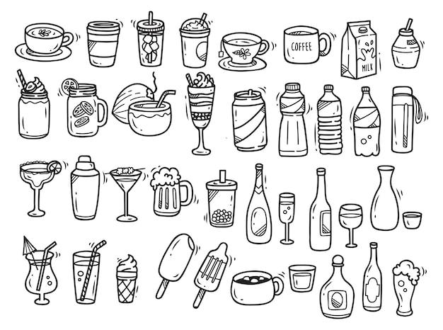 Doodle di bevande impostato su sfondo bianco