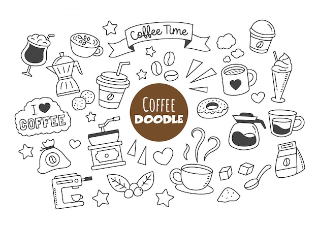 Doodle di caffè kawaii