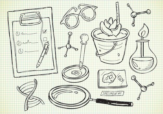 Doodle di esperimento di laboratorio
