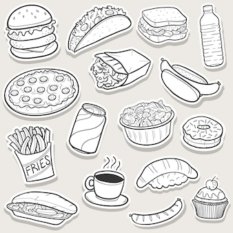 Doodle di fast food, set di adesivi arte schizzo