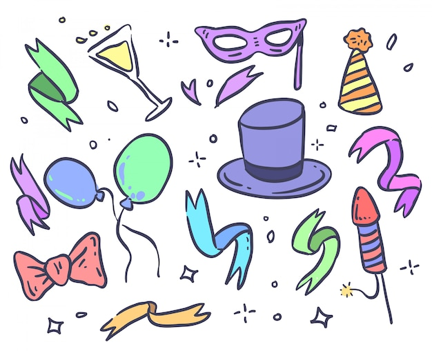 Doodle di festa. vettore di nuovo anno