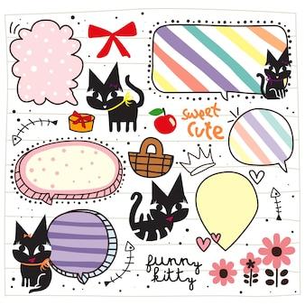 Doodle di gattino nero carino
