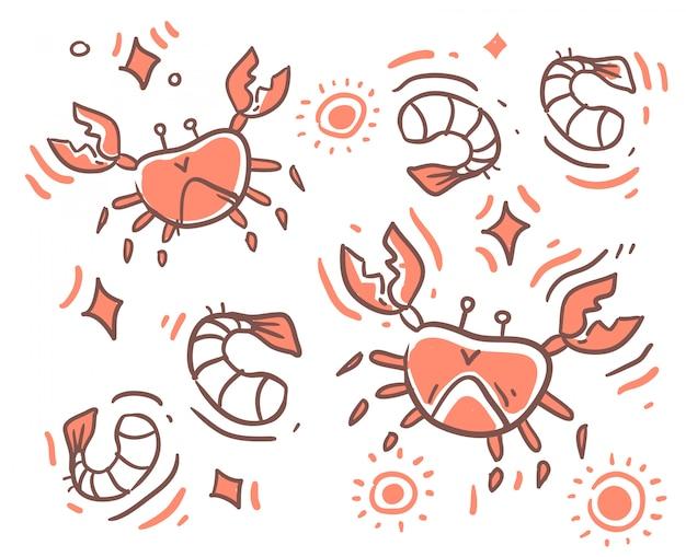 Doodle di granchio stile cartone animato.