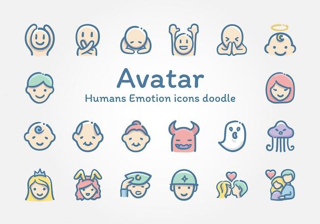 Doodle di icone di emozione di esseri umani avatar