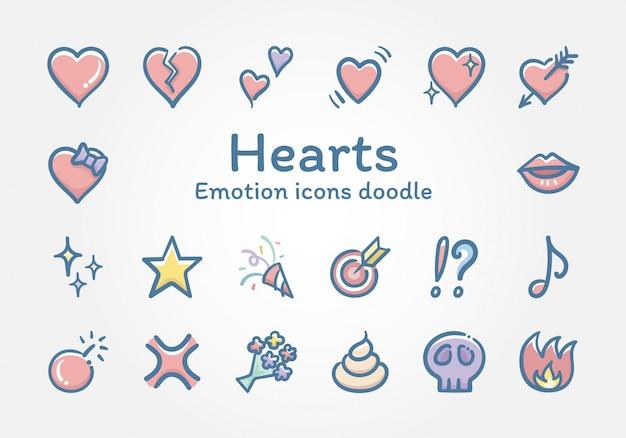 Doodle di icone di vettore di emozioni cuori