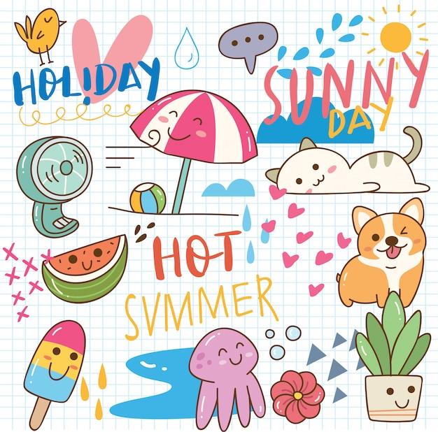 Doodle di kawaii estivo