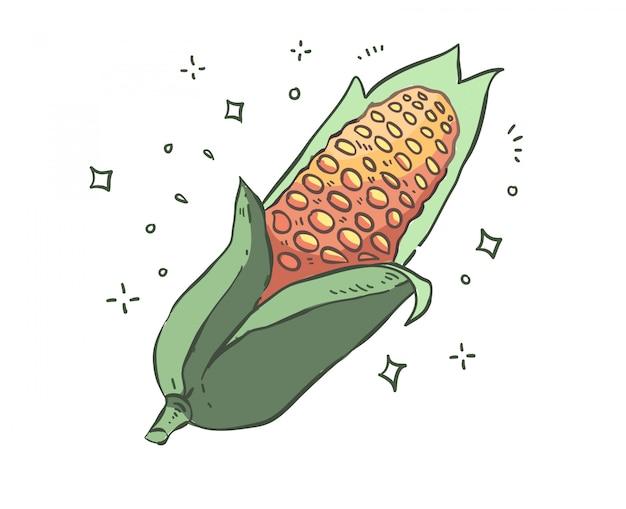 Doodle di mais. illustrazione di mais