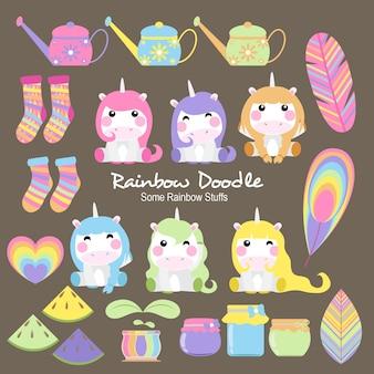 Doodle di oggetti arcobaleno di allen