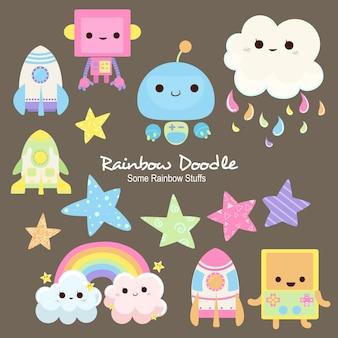 Doodle di oggetti arcobaleno millie
