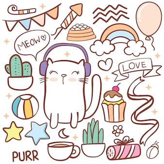 Doodle di oggetto carino compleanno e gatto