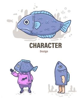 Doodle di pesce stile cartone animato. illustrazione di pesce