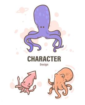 Doodle di polpo stile cartone animato. illustrazione di polpo