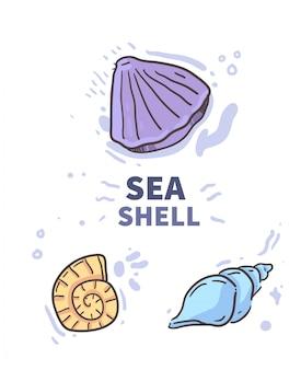 Doodle di shell stile cartone animato. illustrazione delle coperture