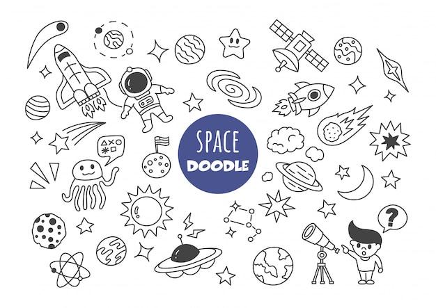 Doodle di spazio kawaii