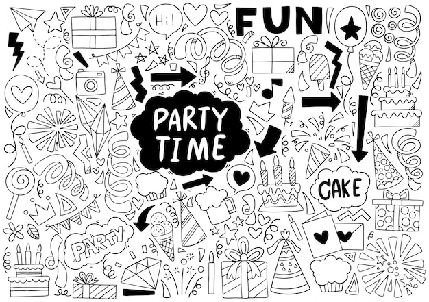 Doodle di tempo di festa