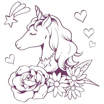 Doodle di unicorno in stile linea