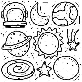 Doodle di vari disegni a mano planetari