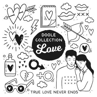 Doodle disegnati a mano elementi romantici di stile
