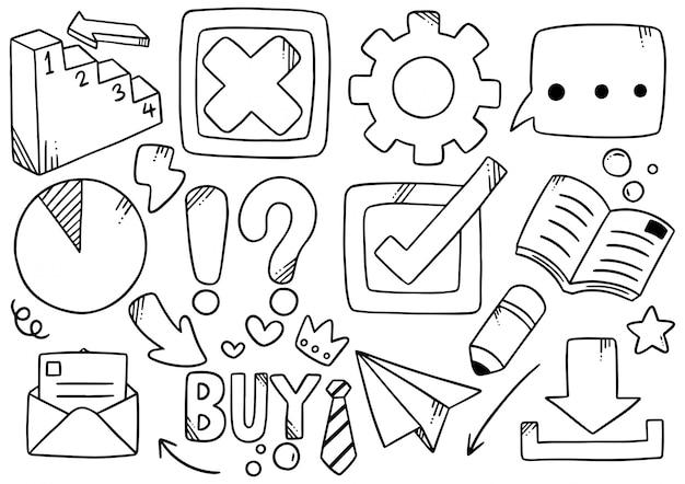 Doodle disegnati a mano imprese elementali