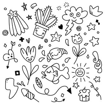 Doodle disegnato a mano delle icone dell'autoadesivo