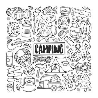 Doodle disegnato a mano di campeggio da colorare