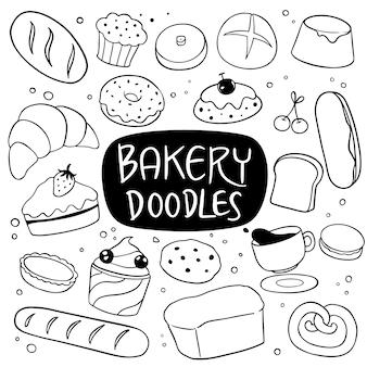 Doodle disegnato a mano di panetteria e dessert