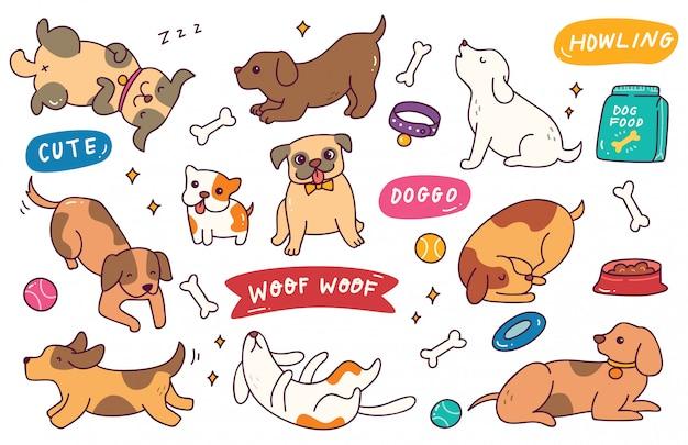 Doodle disegnato a mano di posa del cane