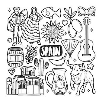 Doodle disegnato a mano di scarabocchio delle icone della spagna