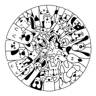 Doodle disegnato a mano set di cani divertenti