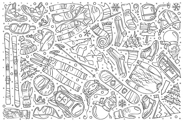 Doodle disegnato a mano set sci