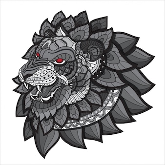 Doodle disegnato a mano zentangle lion illustrazione-vettore.