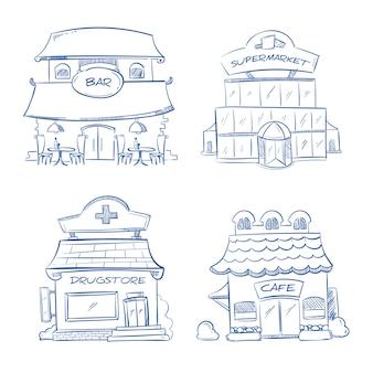 Doodle edificio facciata del negozio