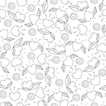 Doodle elementi per san valentino. cuori e foglie. modello senza cuciture design per colorare.