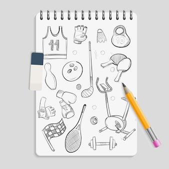 Doodle elementi sportivi sul notebook realistico