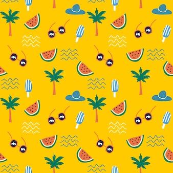 Doodle estate tropicale disegno modello colorato.