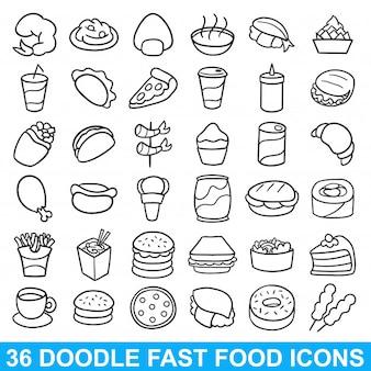 Doodle fast food icon menu ristorante pasto