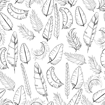 Doodle feather pattern