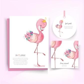Doodle flamingo pittura acquerello in floreale.