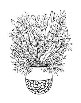 Doodle floreale disegnato a mano sul vaso