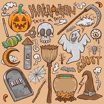 Doodle halloween imposta stock vettoriale illustrazione da colorare