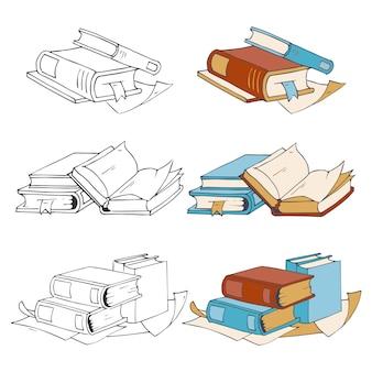 Doodle, icone di libri schizzo disegnato a mano ed elementi coloranti con campioni